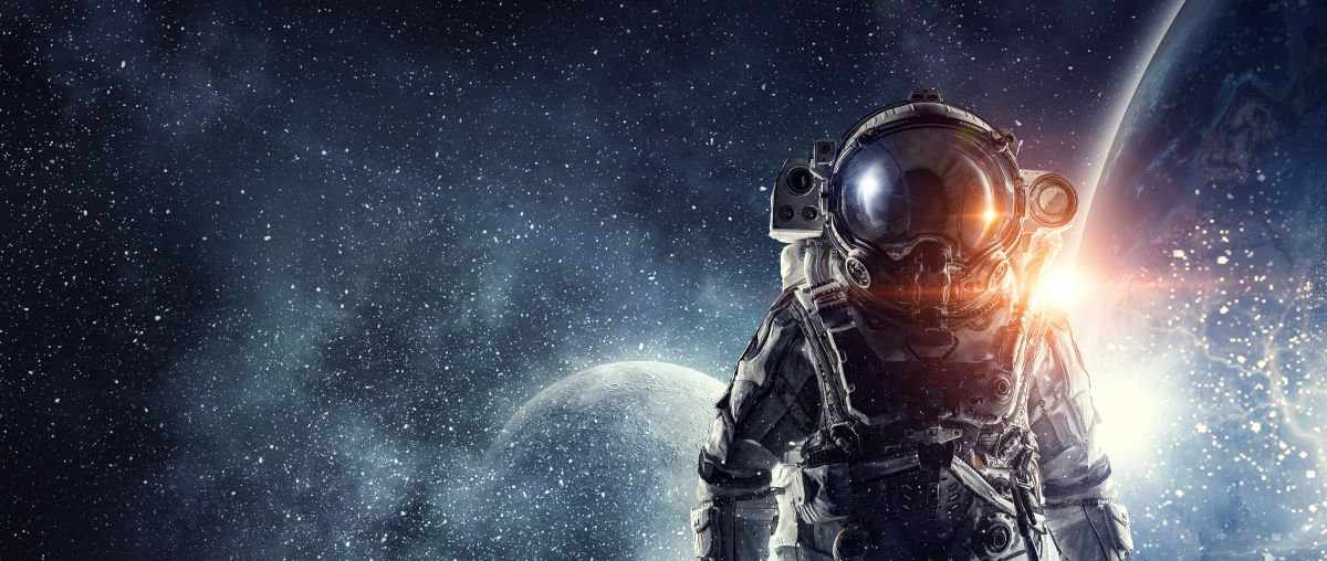 Astronaut in space with moon behind