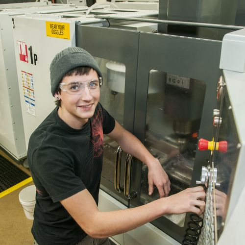 Student in CNC lab